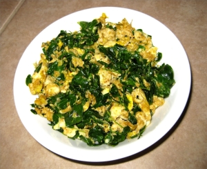 Moringa scrambled eggs